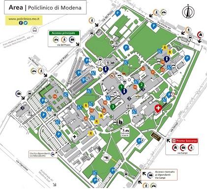 Mappa del Policlinico di Modena