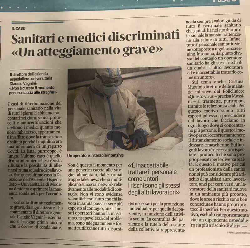 L'Articolo pubblicato sulla Gazzetta di Modena di oggi, 12 ottobre