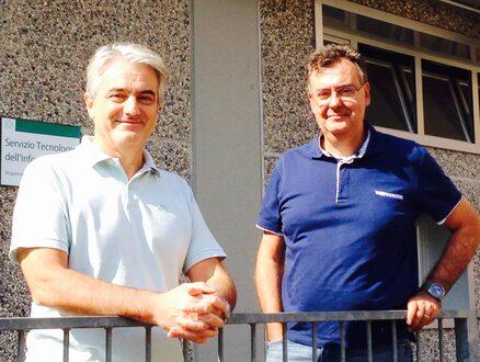 Mario Lugli e Roberto Savigni davanti al Data Center che custodisce i nostri dati